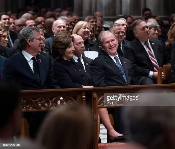 Columba Bush, Jeb Bush, Laura Bush and former President George W. Bush attend the state funeral service of former President George W. Bush at the...