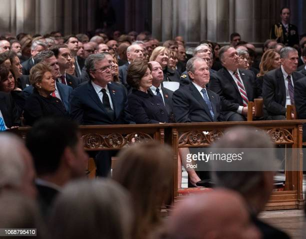 Columba Bush Jeb Bush Laura Bush and George W Bush attend the state funeral service of former President George W Bush at the National Cathedral...
