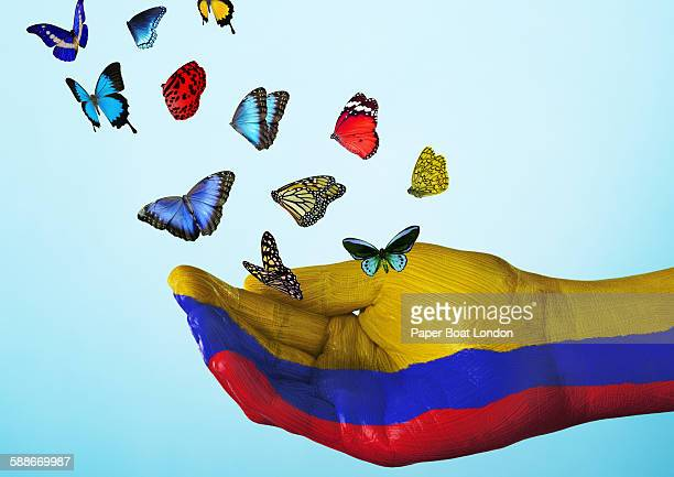 columbia flag painted on hand with butterflies - bandera colombiana fotografías e imágenes de stock