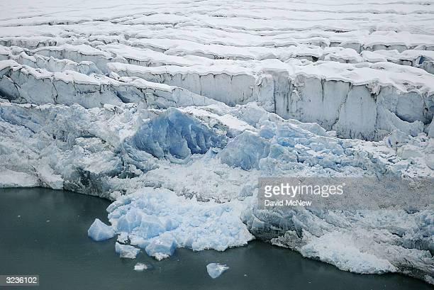 Columbia Glacier crumbles into Columbia Bay on April 6 near Valdez Alaska It is fifteen years since the Exxon Valdez supertanker split open on a...