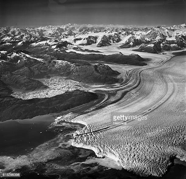 Columbia Glacier stretches through the Chugach Mountains and National Forest, Alaska. August 25, 1969.