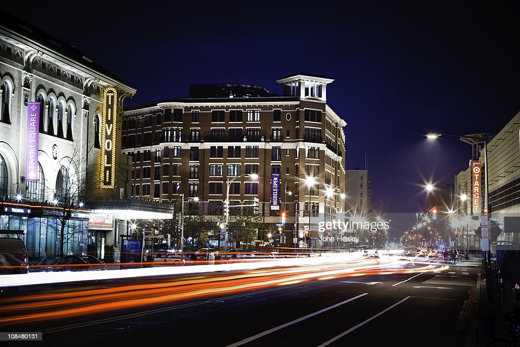 Columbia Heights, Washington DC, at night : Stock Photo