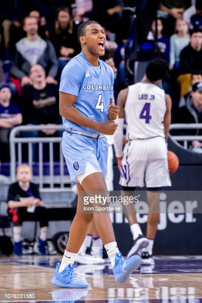 Columbia Lions guard Rodney Hunter reacts during a game between the Columbia Lions and the Northwestern Wildcats on December 30 at Welsh-Ryan Arena...