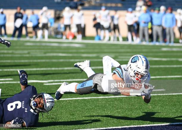 Columbia Lions wide receiver Mozes Mooney dives into the end zone for the score during the game as the Columbia Lions take on the Yale Bulldogs on...