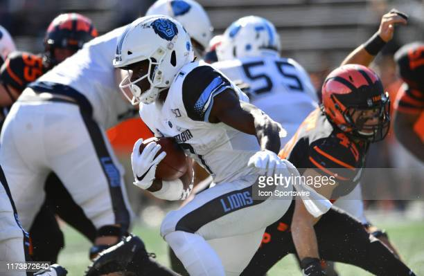 Columbia RB Dante Miller carries the ball in the second half during the game between the Columbia Lions and Princeton Tigers on October 2019 at...