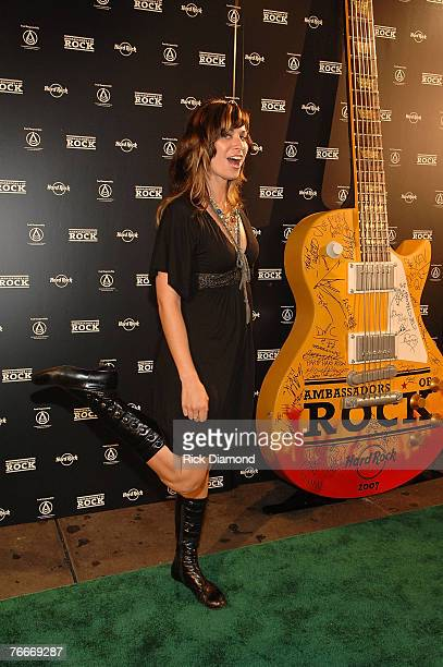 Columbia recording artist Folk Singer Nicole Atkins arrives on The Green Carprt for The Launch of the Sustainable Biodiesel Alliance at the Hard Rock...