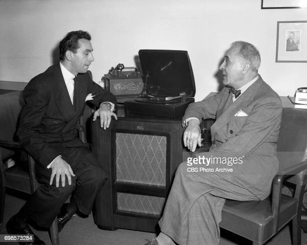Columbia Records introduces long playing microgroove records Pictured left to right Columbia Records executive Goddard Lieberson and conductor...