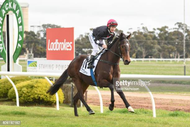 Columbia ridden by Linda Meech goes out for Woodbine Salutes Gwen Bill Steinmeyer Maiden Plate at Warracknabeal Racecourse on August 04 2017 in...