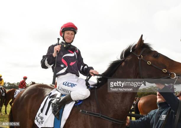 Columbia ridden by Linda Meech returns after Woodbine Salutes Gwen Bill Steinmeyer Maiden Plate at Warracknabeal Racecourse on August 04 2017 in...