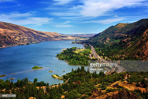 columbia river gorge on sunny spring afternoon viewed from rowena crest overlook with i-84 visible far below - columbia river gorge stock pictures, royalty-free photos & images