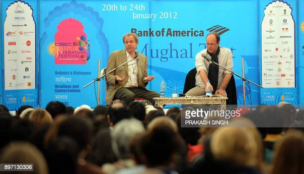 Columbia University professor and author James Shapiro speaks with William Dalrymple during a conversation at DSC Jaipur Literature Festival in...