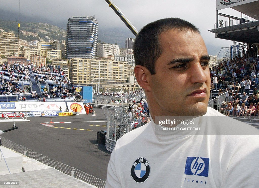 Columbian BMW-Williams driver Juan Pablo Montoya waits in the pits of the Monte-Carlo racetrack during the first free practice session three days before the Monaco Grand Prix, 20 May 2004 in Monaco.