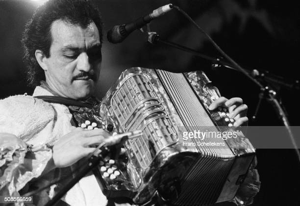 Columbian group Ado y sus Vallenatos perform at the Paradiso in Amsterdam, Netherlands on 12th February 1991.