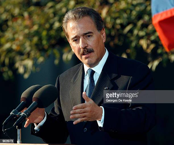 Columbian President Andres Pastrana in the Rose Garden of the White House October 28with President Bill Clinton where they held a joint press...