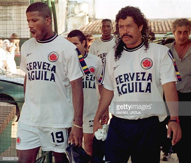 Columbian soccer players Hamilton Rica and Rene Higuita leave the field after practice in Asuncion Paraguay 26 June 1999 Los selecionados colombianos...