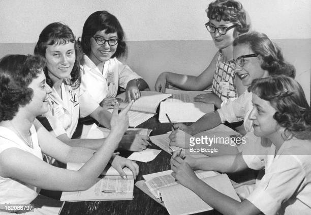 JUN 11 1958 JUN 12 1958 Columbine Girls State High Level Conference at Girls State These six delegates to Columbine Girls State at Colorado Woman's...