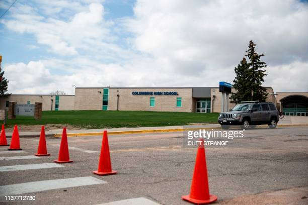 Columbine High School is locked and the parking lots blocked on Wednesday April 17 2019 in Littleton Coliorado All Denverarea schools were evacuated...