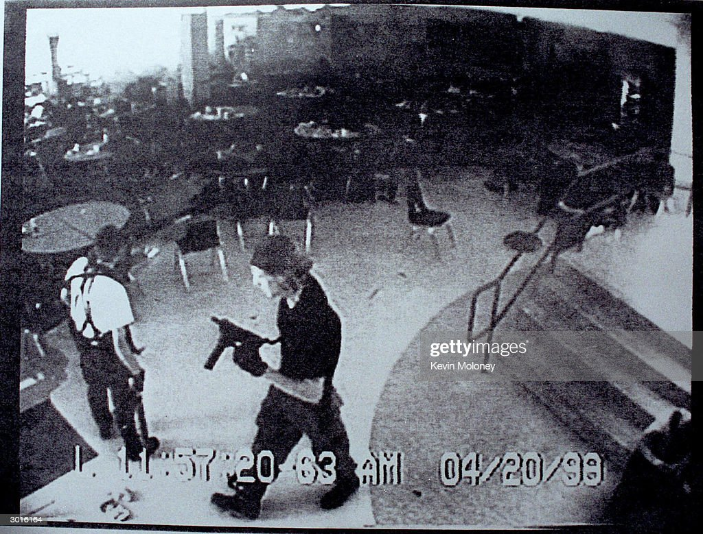 Surveillance Tape Of Columbine High School Shooting : News Photo
