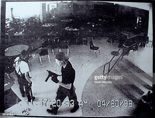 Columbine high school shooters Eric Harris and Dylan Klebold appear in this video capture of a surveillance tape released by the Jefferson County...