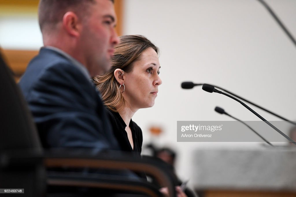 Columbine survivor Jennifer Thompson speaks beside House Minority Leader Patrick Neville, R-Castle Rock, to the Democratic-controlled House State, Veterans and Military Affairs Committee at the Colorado State Capitol on Wednesday, February 21, 2018. The committee heard three Republican bills to loosen Colorado gun laws at the. All are expected to be rejected by Democrats.