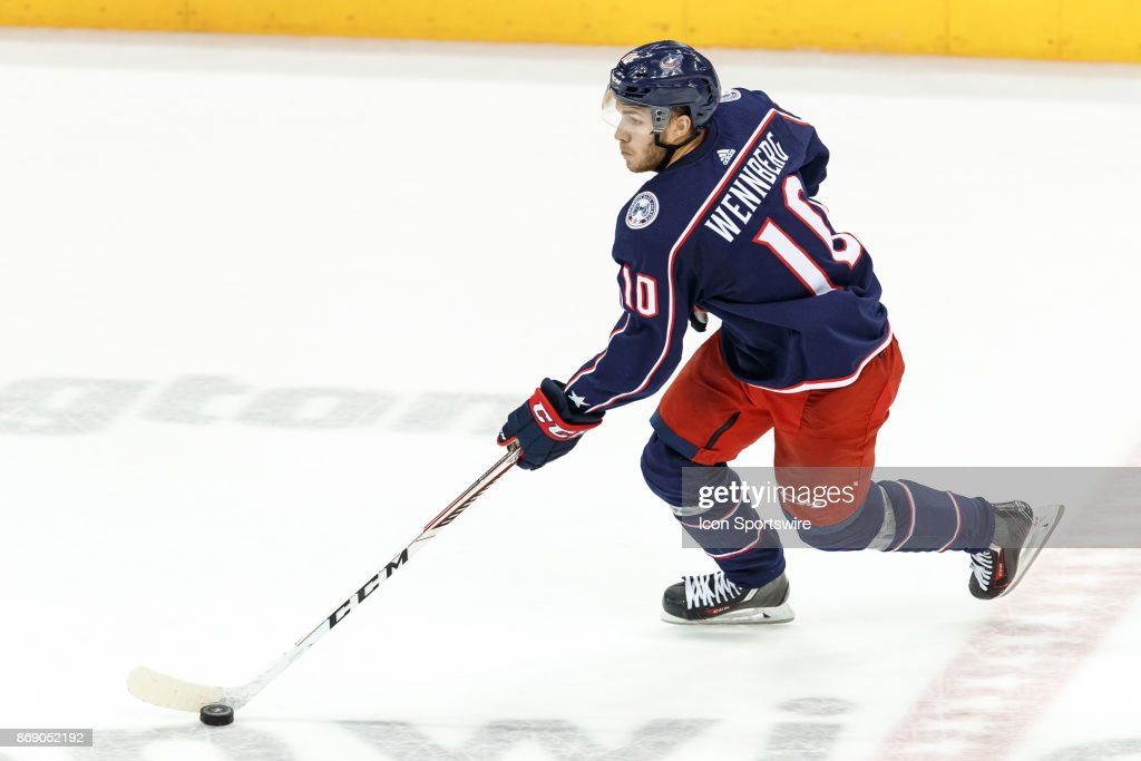 Columbus Blue Jackets center Alexander Wennberg (10) controls the puck during the third period in a game between the Columbus Blue Jackets and the Winnipeg Jets on October 27, 2017, at Nationwide Arena in Columbus, OH. Blue Jackets defeated the Sabres
