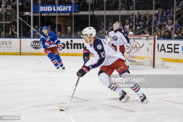 Columbus Blue Jackets Center Alexander Wennberg takes the puck out of the Blue Jackets zone during the first period of a Metropolitan Divisional...