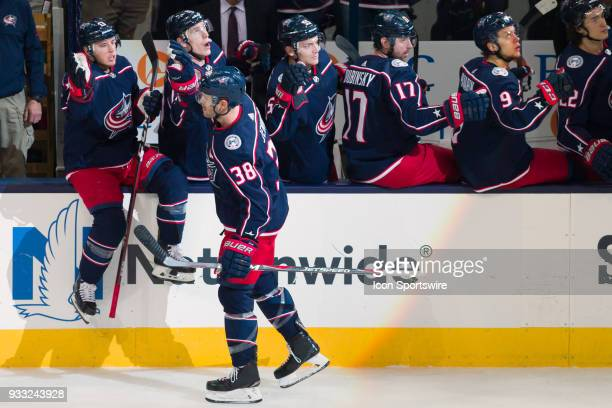 Columbus Blue Jackets center Boone Jenner celebrates with teammates after scoring a goal in the first period of a game between the Columbus Blue...