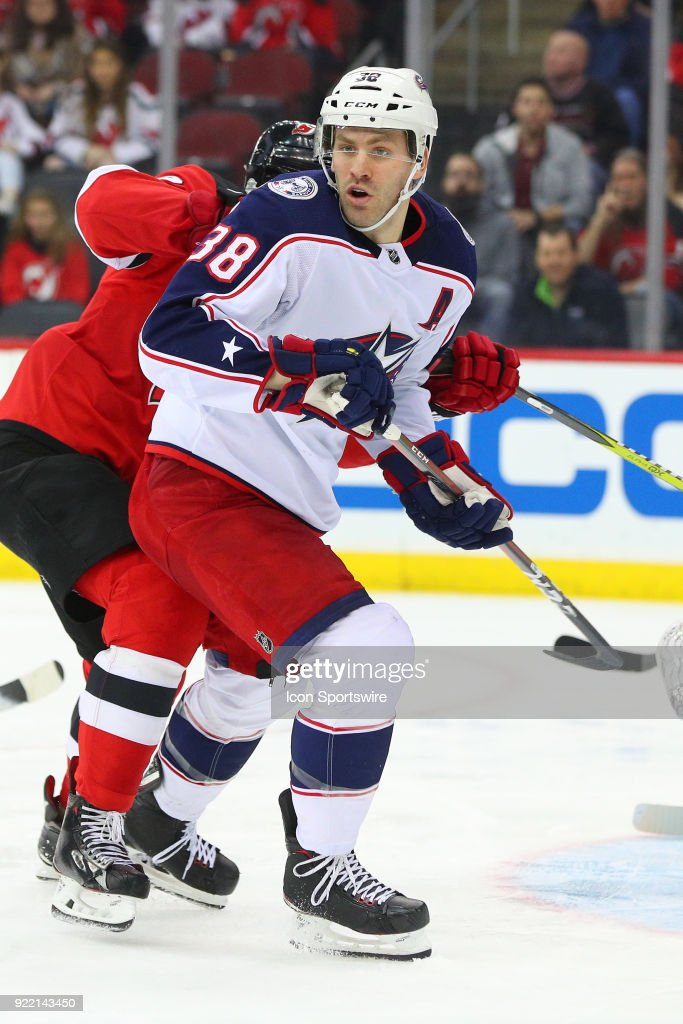 Columbus Blue Jackets center Boone Jenner (38) skates during the second period of the National Hockey League game between the New Jersey Devils and the Columbus Blue Jackets on February 20, 2018, at the Prudential Center in Newark, NJ.