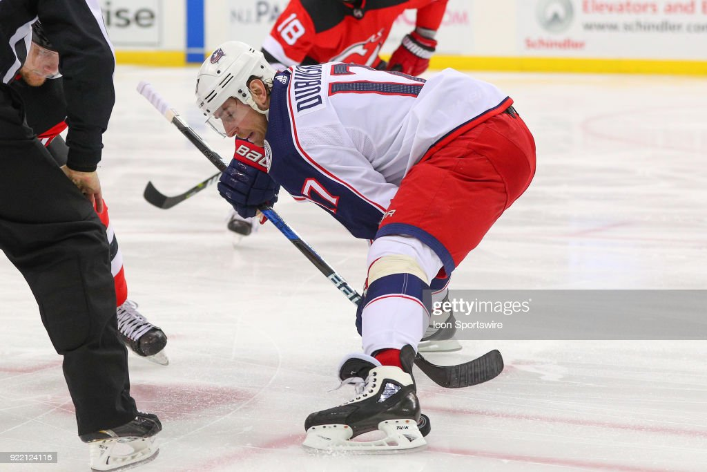 Columbus Blue Jackets center Brandon Dubinsky (17) faces off during the first period of the National Hockey League game between the New Jersey Devils and the Columbus Blue Jackets on February 20, 2018, at the Prudential Center in Newark, NJ.