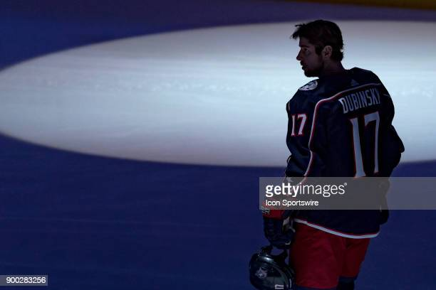 Columbus Blue Jackets center Brandon Dubinsky looks on before a game between the Columbus Blue Jackets and the Carolina Hurricanes on November 28 at...