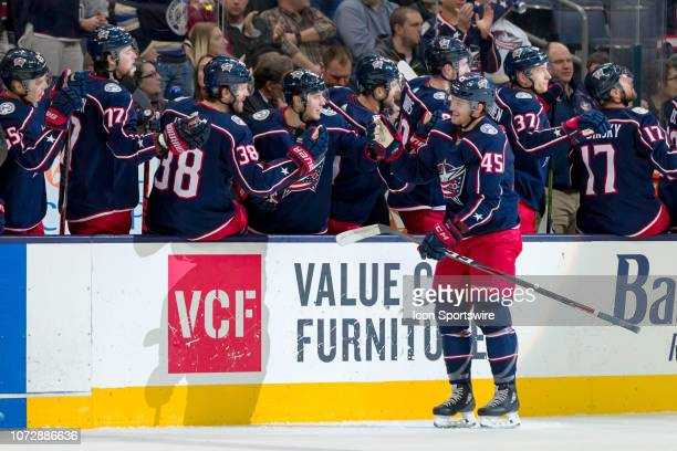 Columbus Blue Jackets center Lukas Sedlak celebrates with teammates after scoring a goal in a game between the Columbus Blue Jackets and the Los...