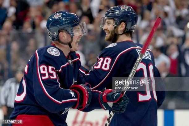 Columbus Blue Jackets center Matt Duchene celebrates with Columbus Blue Jackets center Boone Jenner after winning the Stanley Cup first round playoff...