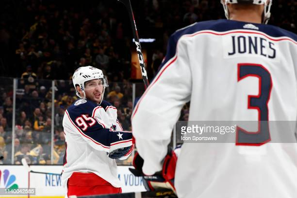 Columbus Blue Jackets center Matt Duchene chats with Columbus Blue Jackets defenseman Seth Jones during Game 2 of the Second Round 2019 Stanley Cup...