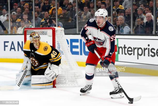 Columbus Blue Jackets center Matt Duchene holds the puck down low on the power play during Game 1 of the Second Round 2019 Stanley Cup Playoffs...
