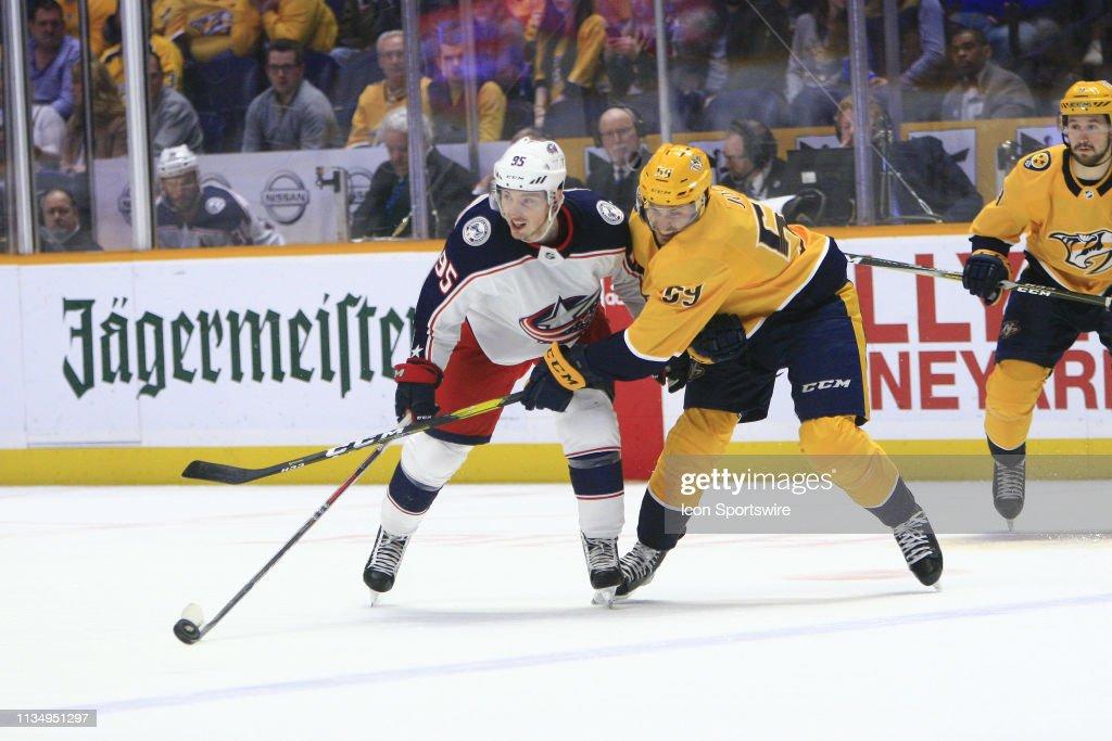 NHL: MAR 30 Blue Jackets at Predators : News Photo