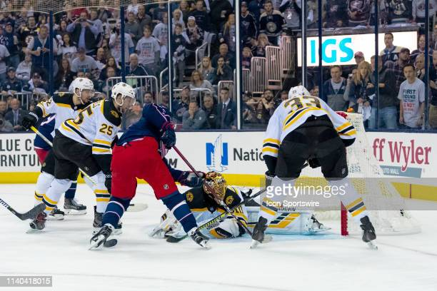 Columbus Blue Jackets center Matt Duchene shoots and scores a goal in the Stanley Cup second round playoff game between the Columbus Blue Jackets and...