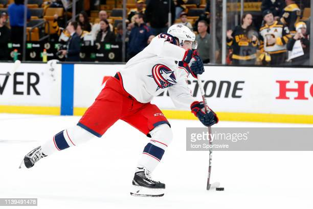 Columbus Blue Jackets center Matt Duchene shoots in warm up before Game 1 of the Second Round 2019 Stanley Cup Playoffs between the Boston Bruins and...