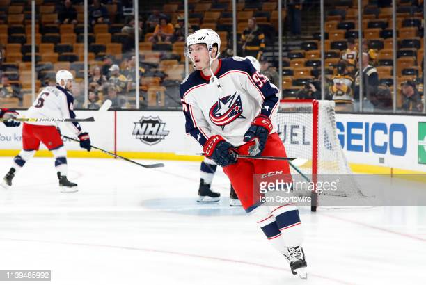 Columbus Blue Jackets center Matt Duchene skates in warm up before Game 1 of the Second Round 2019 Stanley Cup Playoffs between the Boston Bruins and...