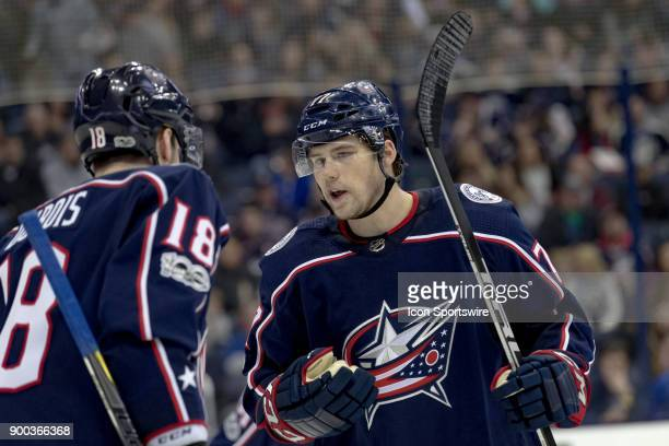 Columbus Blue Jackets center PierreLuc Dubois and Columbus Blue Jackets right wing Josh Anderson chat during the second period in a game between the...