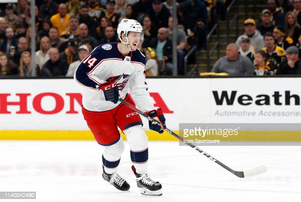 Columbus Blue Jackets defenseman Dean Kukan calls for the puck during Game 2 of the Second Round 2019 Stanley Cup Playoffs between the Boston Bruins...