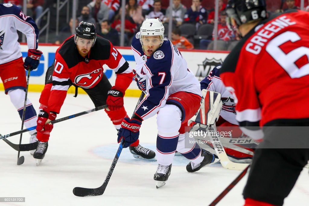 Columbus Blue Jackets defenseman Jack Johnson (7) skates during the first period of the National Hockey League game between the New Jersey Devils and the Columbus Blue Jackets on February 20, 2018, at the Prudential Center in Newark, NJ.