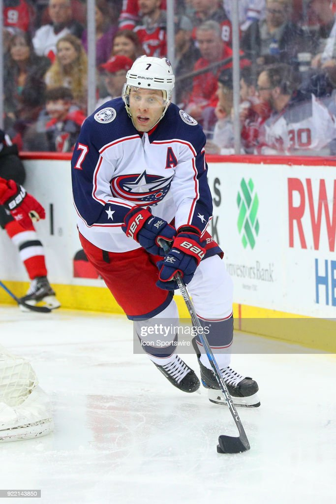 Columbus Blue Jackets defenseman Jack Johnson (7) skates during the third period of the National Hockey League game between the New Jersey Devils and the Columbus Blue Jackets on February 20, 2018, at the Prudential Center in Newark, NJ.