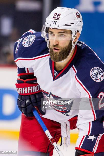 Columbus Blue Jackets Defenseman Kyle Quincey awaits a face off during the second period of a Metropolitan Divisional matchup between the Columbus...