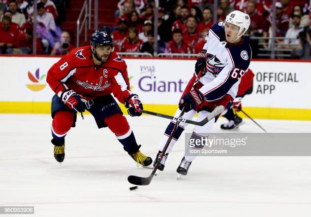 Columbus Blue Jackets defenseman Markus Nutivaara in action against Washington Capitals left wing Alex Ovechkin during a match between the Washington...
