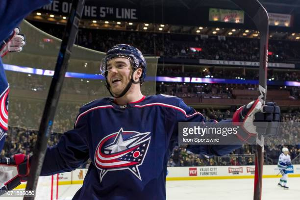 Columbus Blue Jackets defenseman Scott Harrington reacts to a goal from Columbus Blue Jackets right wing Oliver Bjorkstrand in a game between the...