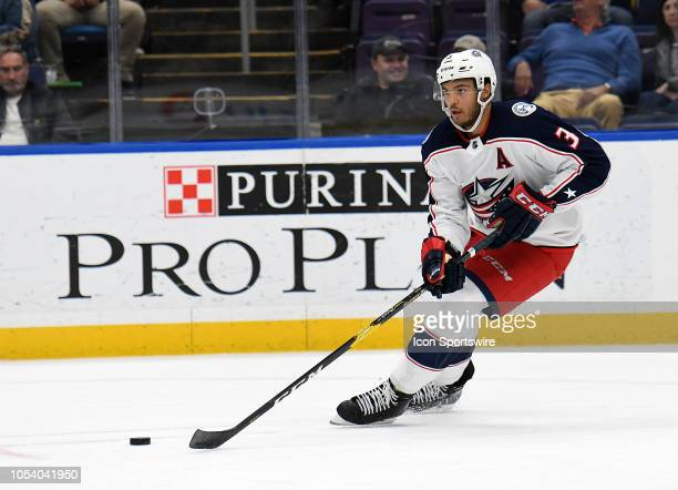 Columbus Blue Jackets defenseman Seth Jones brings the puck up the ice during a NHL game between the Columbus Blue Jackets and the St Louis Blues on...