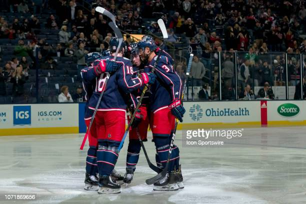 Columbus Blue Jackets defenseman Seth Jones celebrates with teammates after scoring a goal in a game between the Columbus Blue Jackets and the...