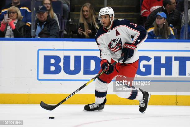 Columbus Blue Jackets defenseman Seth Jones during a NHL game between the Columbus Blue Jackets and the St Louis Blues on October 25 at Enterprise...