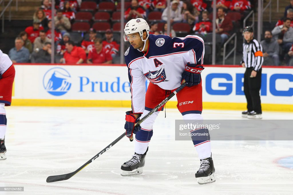 Columbus Blue Jackets defenseman Seth Jones (3) skates during the first period of the National Hockey League game between the New Jersey Devils and the Columbus Blue Jackets on February 20, 2018, at the Prudential Center in Newark, NJ.