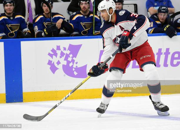 Columbus Blue Jackets defenseman Seth Jones with the puck during a NHL game between the Columbus Blue Jackets and the St Louis Blues on November 01...